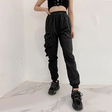 Load image into Gallery viewer, Black Elastic Waist Casual Jogger Sweatpants