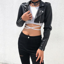 Load image into Gallery viewer, Black Leather Cropped Jacket