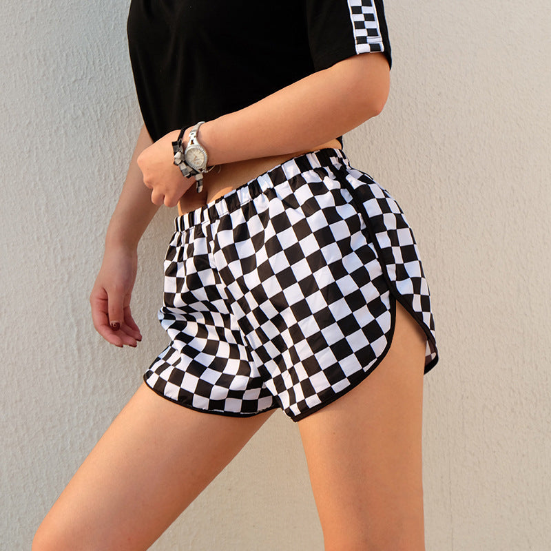 Checkerboard Side Split Plaid Shorts