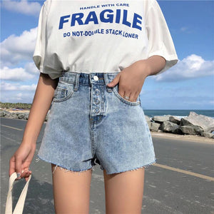Quotes Printed Pocket Jeans Shorts