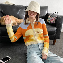 Load image into Gallery viewer, Sunset Painting Cropped Cardigan Sweater