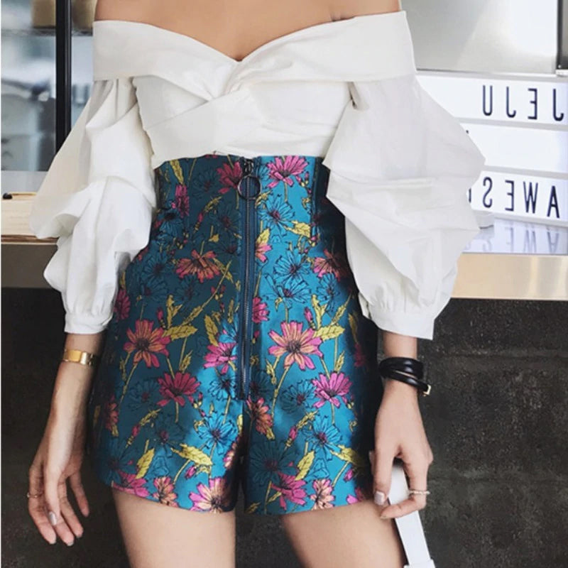 High Waist Long Zipper Flowers Pattern Shorts Pants