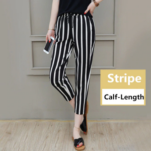 Casual Length Striped Simple Long Pants