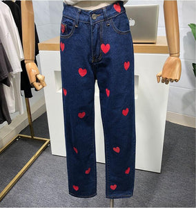 Heart Printed Jeans Pants