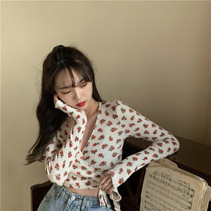 Flower Pattern V-Neck Knitted Thin Long Sleeve Shirt