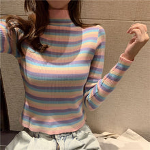 Load image into Gallery viewer, Rainbow Stripes Sexy Slim Turtleneck Sweater