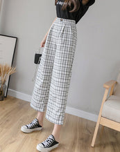 Load image into Gallery viewer, Vintage Plaid Pants Elastic Waist Women