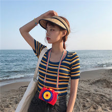 Load image into Gallery viewer, O-Neck Knitted Striped Stretchy Slim Shirt