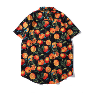 Orange Full Printed Blouse Shirt