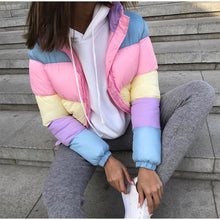 Load image into Gallery viewer, Pastel Ranbow Zipper Parka Coat