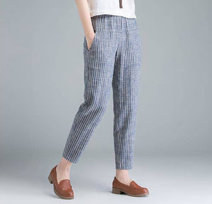 Women Cotton Casual Pants Striped
