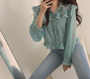 Flower Embroidery Sexy Ruffle Blouse Shirt