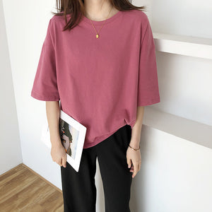 6 Colors Option Casual O-Neck Loose Shirt