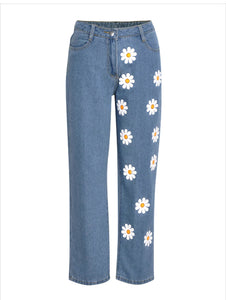 Daisy Flower Printed Denim Jeans Pants