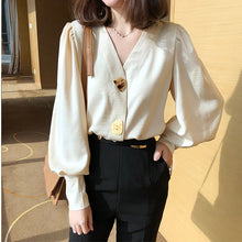 Load image into Gallery viewer, V-Neck Lantern Sleeve Blouse Shirt
