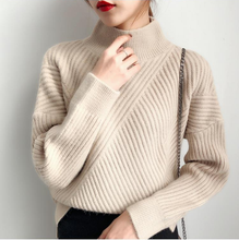 Load image into Gallery viewer, Loose Thick Turtleneck Knitted Sweater