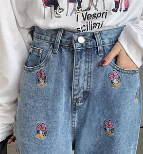 Daisy Duck Embroidered Wide Leg Jeans