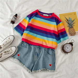 Sweet Pastel Color Striped Loose Shirt