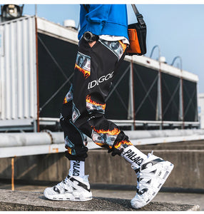 Hip Hop Fire Dollar Printed Jogger Pants
