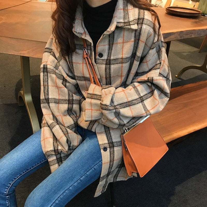 Loose Style Woolen Plaid CoatLoose Style Woolen Plaid Coat