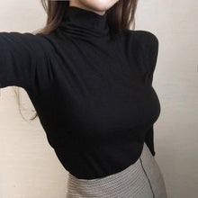Load image into Gallery viewer, Turtleneck Elastic Cotton Slim Shirt