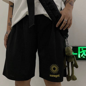 Moon Sunlight Embroidery Loose Shorts Pants