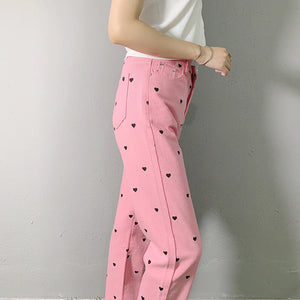 Heart Printed Pink Pants