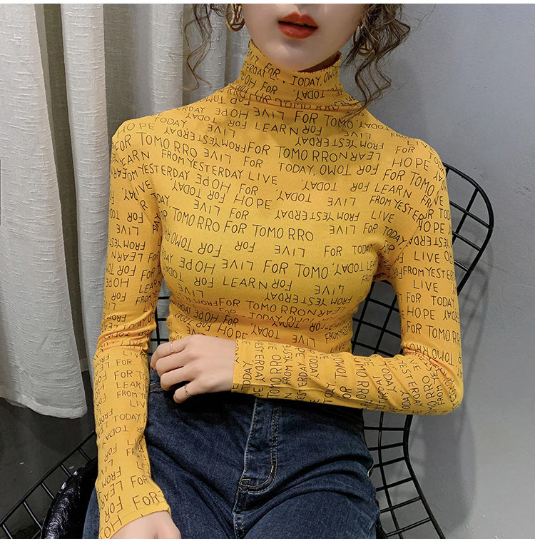 Letters Full Printed Turtleneck Slim Stretchy Long Sleeve Shirt