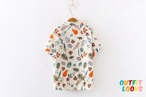 Short Sleeve Fruit and Vegetable Printed Chiffon Blouse Shirt