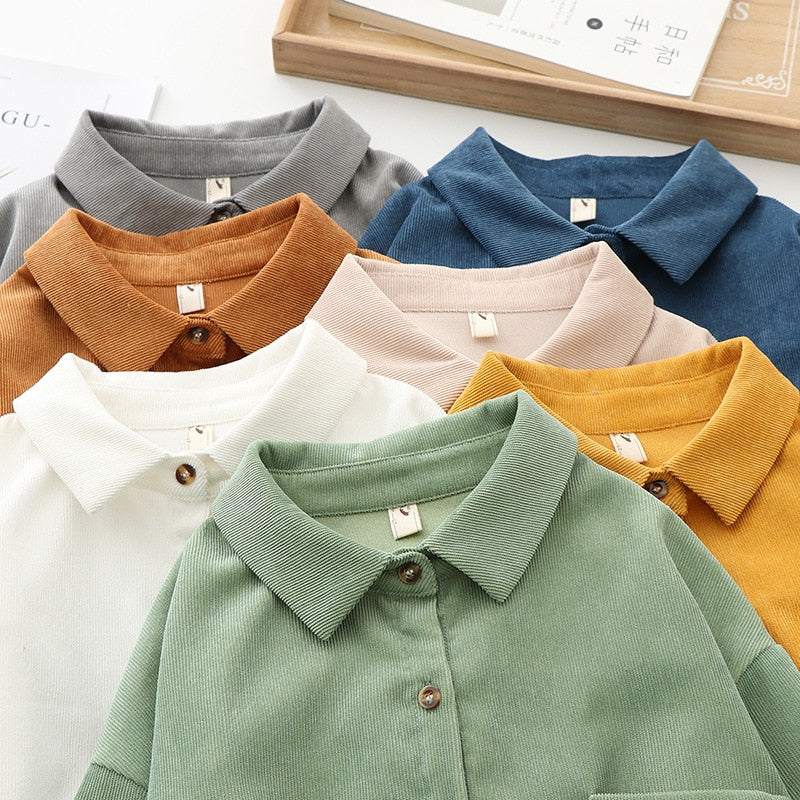 [Women] Corduroy Womens Tops and Blouses Long Sleeve