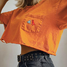 Load image into Gallery viewer, Dinosaur Embroidery Pocket Cropped Shirt