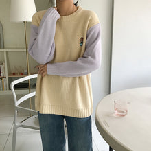 Load image into Gallery viewer, Flower Pot Pocket Embroidered Loose Sweater