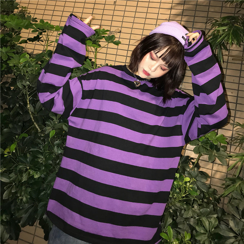 Black Purple Striped Loose Shirt