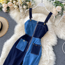 Load image into Gallery viewer, Zipper Denim Patchwork Rompers Jumpsuit