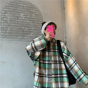 Loose Style Plaid Shirt