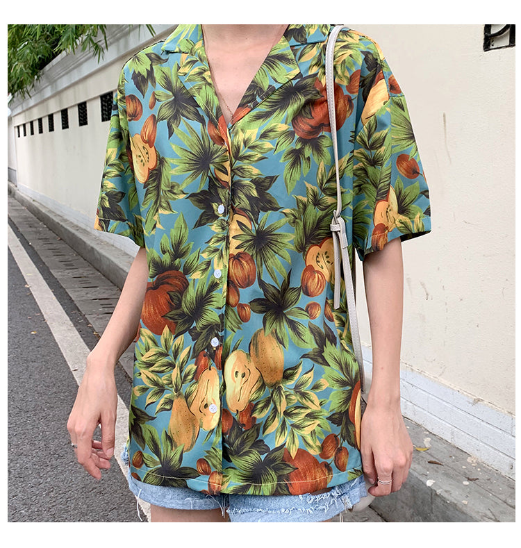 Fruit Flower Printed Blouse Shirt