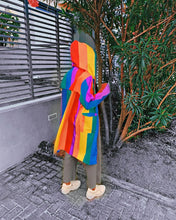 Load image into Gallery viewer, Rainbow Striped Hooded Coat Jacket