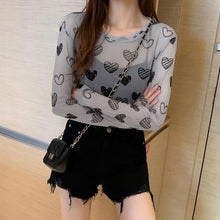 Load image into Gallery viewer, Heart Pattern Aesthetic Mesh Long Sleeve Shirt