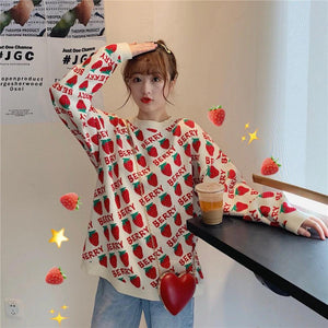 Vintage Strawberry Printed Loose Sweater