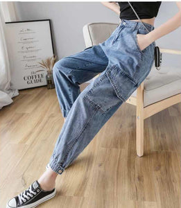 High Waist Pocket Cargo Jogger Denim Pants