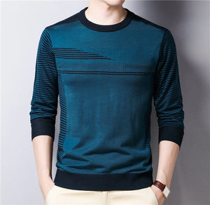 Casual Striped Cotton O-Neck Sweater