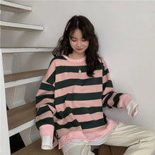 Load image into Gallery viewer, Fake Two Piece Loose Striped Sweatshirt