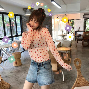 Sexy Flowers Pattern Transparent Long Sleeve Shirt
