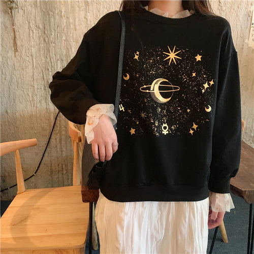 Stars Planet Printed O Neck Sweatshirt
