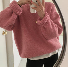 Load image into Gallery viewer, Loose Thick Pink Knitted Sweater