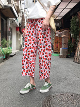 Load image into Gallery viewer, High Waist Strawberry Ankle Length Long Pants