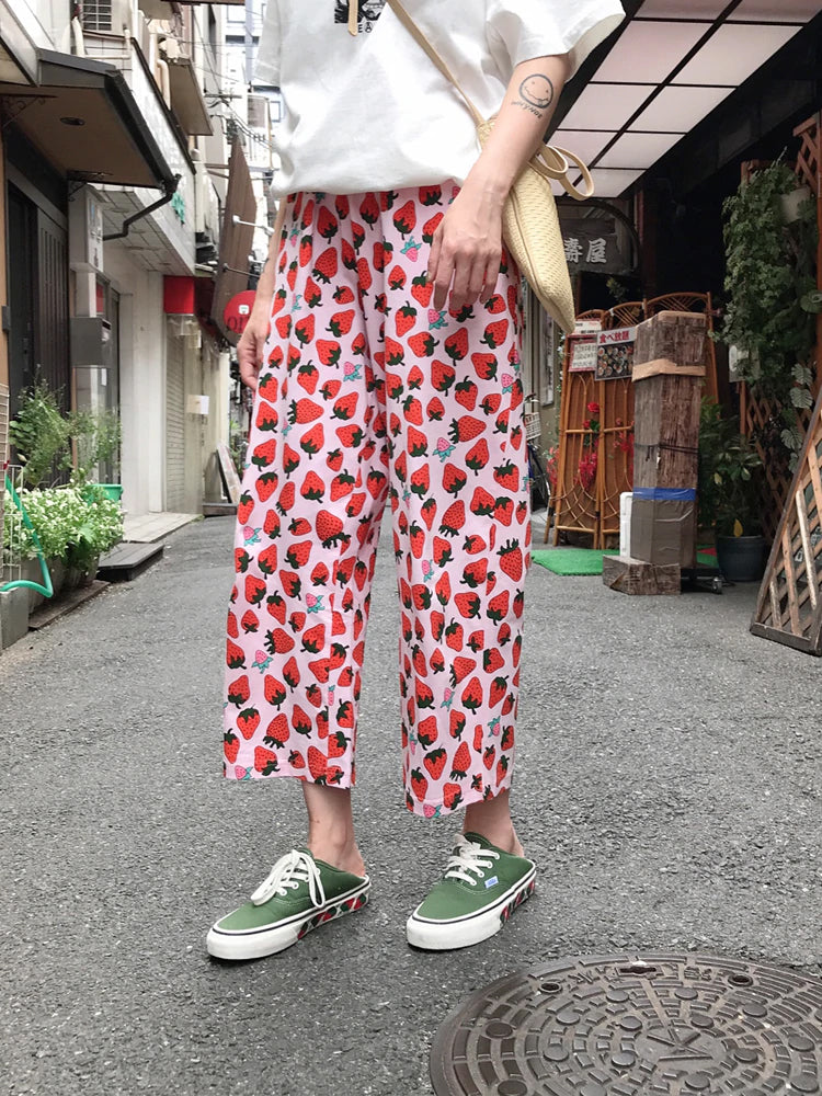 High Waist Strawberry Ankle Length Long Pants