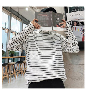 Long Sleeve High Collar Striped Shirt