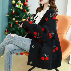 Cherries Full Pattern Cardigan Sweater
