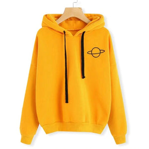 Women Hoodies Pullover Casual Planet Print Solid Loose